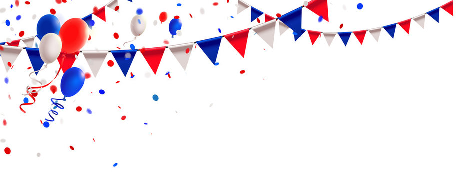 Russland Trikolore Wimpel Girlande, Luftballons und Konfetti