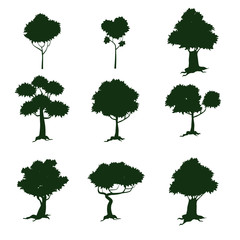 Set of trees, silhouette, cartoon style, isolated, vector, illustration