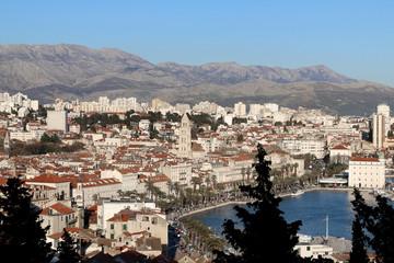 Split city centre illuminated by sunlight. Split is popular touristic destination and UNESCO World Heritage Site.