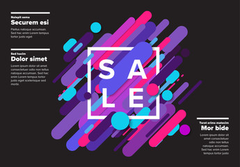 Sale Poster Layout with Brightly Colored Design Elements