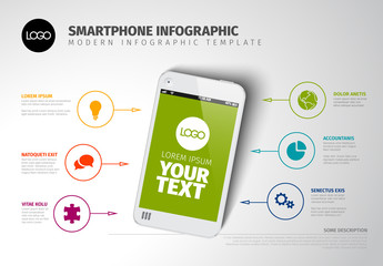 Smartphone Infographic with Colorful Business Icons