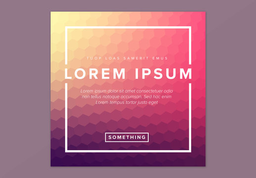 Social Media Post Layout with Gradient Hexagon Elements