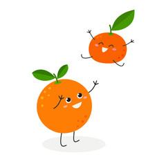 Cute cartoon orange and joyful tangerine playing and having fun