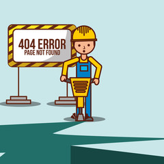 worker with jackhammer construction site 404 error page not found vector illustration