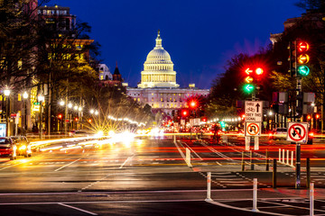 APRIL 11, 2018 WASHINGTON D.C. - Pennsylvania Ave to US Capitol with.Streaked lights going towards US Capitol in Washington DC. during rush hour PM