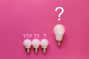 lamps on a purple background with a question mark, expiring ideas