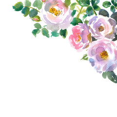 card with watercolor roses