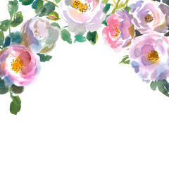 Greeting card template with floral ornament on top