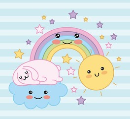 kawaii cat sleep in cloud fantasy magic rainbow cartoon vector illustration