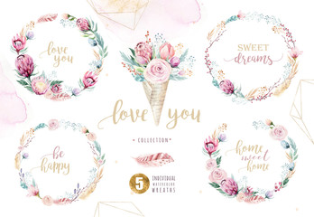 Hand drawing isolated watercolor floral illustration with protea rose, leaves, branches and flowers. Bohemian gold crystal frames, bouquets and wedding wreath card.