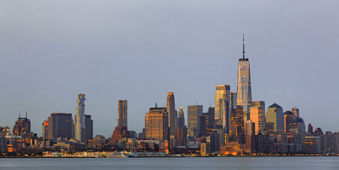 Lower Manhattan Skyline from Jersey at twilight, NYC