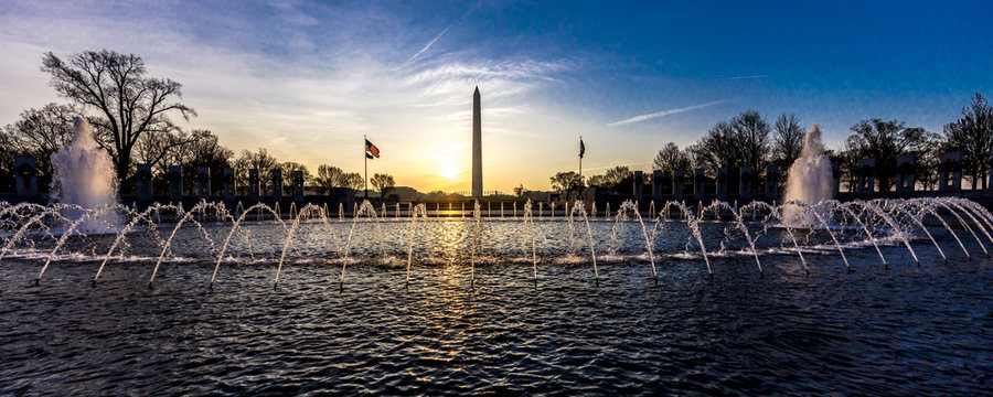 APRIL 10, 2018 - Washington D.C. - Fountains and World War II Memorial at Sunrise, Washington D.C.