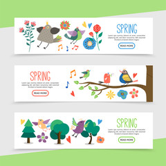 Flat Hello Spring Horizontal Banners