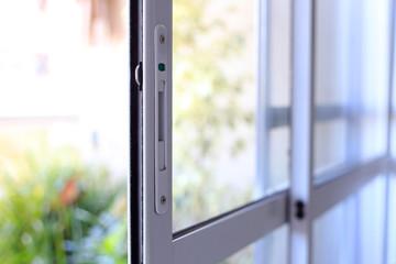 Aluminum and glass window door.