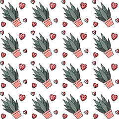aloe plants in pots with hearts pattern background vector illustration design