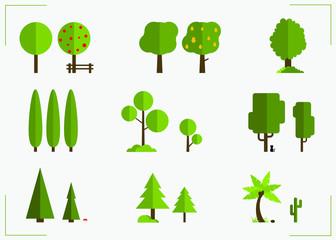 Illustrated Trees Flat  Design Set