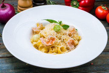 Pasta fettuccine with shrimps