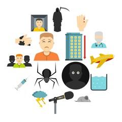Phobia symbols icons set in flat style isolated vector illustration