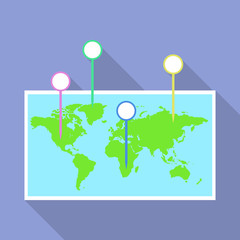 World map pins icon. Flat illustration of world map pins vector icon for web design