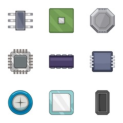 Microchip of the future icons set. Cartoon set of 9 microchip of the future vector icons for web isolated on white background