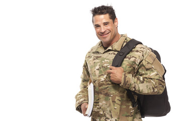 Soldier with bag and books