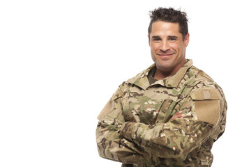 Army soldier with arms crossed