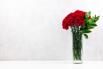 red carnations light white background square vase