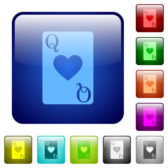 Queen of hearts card color square buttons