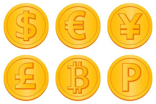 通貨記号のコインのイラスト