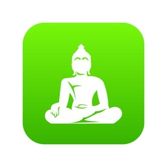 Statue of Buddha sitting in lotus pose icon digital green for any design isolated on white vector illustration