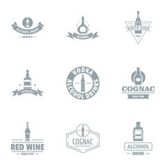 Vino logo set. Simple set of 9 vino vector logo for web isolated on white background
