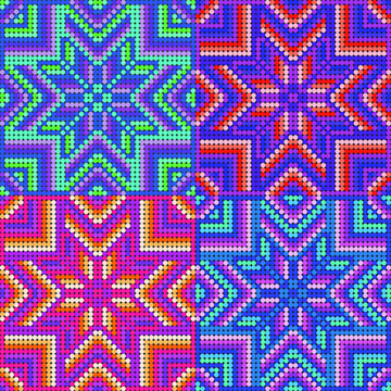 Mexican pattern inspired by huichol art