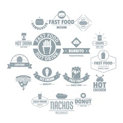 Fast food logo icons set. Simple illustration of 16 fast food logo vector icons for web