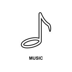 music note icon. Element of simple web icon with name for mobile concept and web apps. Thin line music note icon can be used for web and mobile