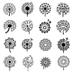 Logo with dandelion icons set. Simple illustration of 16 logo with dandelion vector icons for web