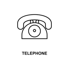 telephone icon. Element of simple web icon with name for mobile concept and web apps. Thin line telephone icon can be used for web and mobile