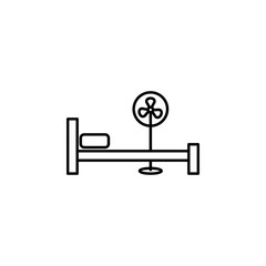 bed and fan icon. Element of simple travel icon for mobile concept and web apps. Thin line bed and fan icon can be used for web and mobile