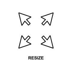 resize sign icon. Element of simple web icon with name for mobile concept and web apps. Thin line resize sign icon can be used for web and mobile