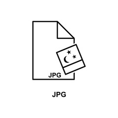 jpg file icon. Element of simple web icon with name for mobile concept and web apps. Thin line jpg file icon can be used for web and mobile