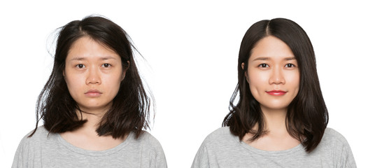 woman before and after makeup.Set of two pictures of the same woman