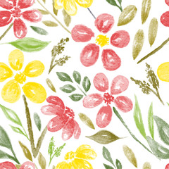 Watercolor Flowers and Leaves Seamless Pattern II