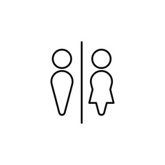 sign in the toilet icon. Element of simple web icon with name for mobile concept and web apps. Thin line sign in the toilet icon can be used for web and mobile