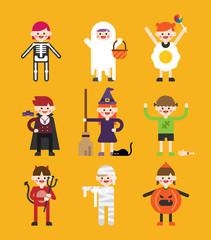 holloween cute children characters vector flat design illustration set