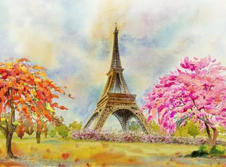 Paris European city. France, eiffel tower watercolor painting.
