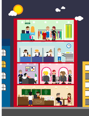 The inside of the building and the people working there vector flat design illustration set