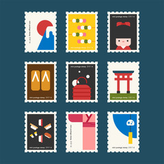 japan stamp concept vector flat design illustration set