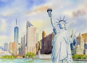 Statue Liberty  in Manhattan urban. Watercolor painting