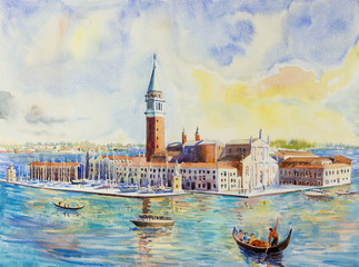 Venice Italy with historic gondola view. Watercolor painting.