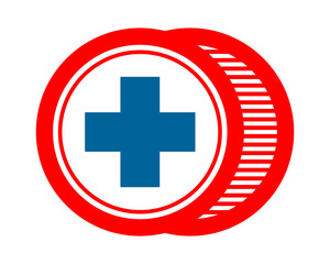 blue red cross positive icon image vector logo symbol