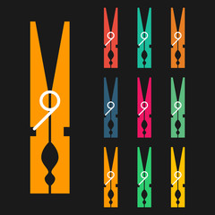Clothespins, icons set, colorful isolated on black background, vector illustration.